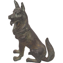 Large Circa 1930's German Shepherd Vienna Bronze Dog