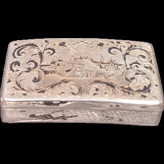Antique Dated 1848 Russian Silver & Enamel Pocket Snuff or Cigarette Box