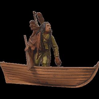 Rare Antique Signed Bergman Vienna Bronze Indian & Canoe