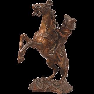 Antique Vienna Bronze Cowboy On Rearing Horse
