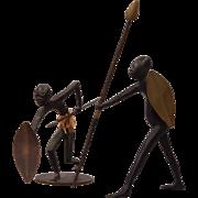 2 Hagenauer Austrian Art Deco Vienna Bronze African Warriors Man & Woman
