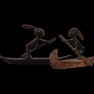 2 Hagenauer Austrian Art Deco Vienna Bronze African Warriors Rowing 2 Boats