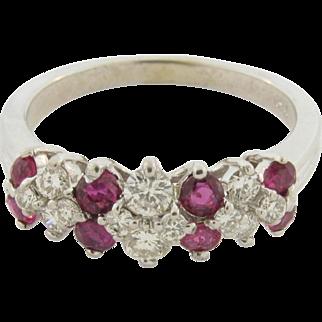 Vintage Diamonds Rubies 14k White Gold Ring