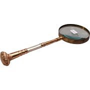 Art Nouveau Gilt Metal Mother of Pearl Parasol Handled Magnifying Glass