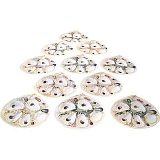 Eleven Mint Condition Signed Union Porcelain Works Dated 1881 Oyster Plates