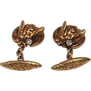 Beautiful Pair Art Deco 18K Gold Diamonds Fox Head Cufflinks