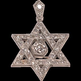 Vintage Platinum and Diamonds Star of David Pendant