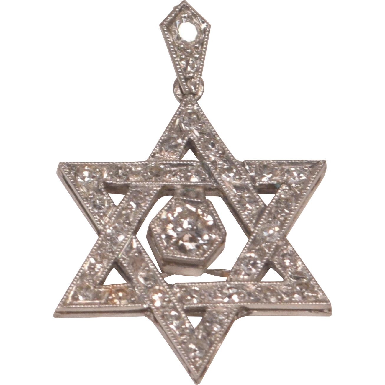 Vintage Platinum And Diamonds Star Of David Pendant From