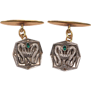 Unique Antique Medical Theme 18K Gold Platinum Diamonds Emerald Cufflinks