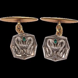 Unique Antique Medical Theme 18K Gold Platinum Diamonds Emerald Cufflinks