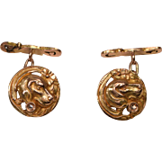 Antique 18K Gold Dog Head & Diamond Cufflinks