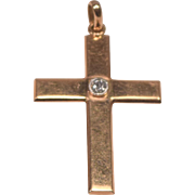 Antique 18K Gold & Platinum Set Diamond Cross