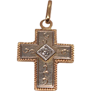 Beautiful Antique 18K Gold & Diamond Pendant Cross