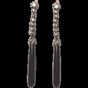 Art Deco Platinum Diamonds Black Onyx Dangling Earrings