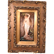 Exquisite Antique Signed KPM Nude Water Nymph Painting On Porcelain Plaque