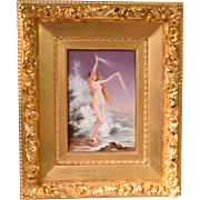 Beautiful Antique Painting On Porcelain Plaque Nude Water Nymph Ocean Waves