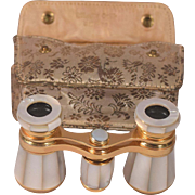 Beautiful Gilt Metal Mother of Pearl Vintage Opera Glasses