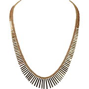 Beautiful Aurea Marked 14K Graduated Fringe Necklace in Original Fitted Case 42.4 Troy Ounces 1&1/3 rd Troy Ounces Solid 14K Gold