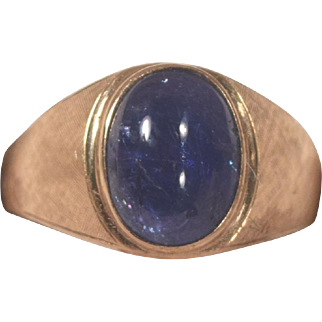 Beautiful Marked 18K Gold Cabochon Medium Blue Man's Sapphire Ring Size 14