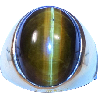 Extraordinary Gem Quality Large Tiger's Eye 14K Gold Man's Ring Size 14