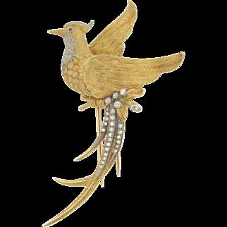 Unique Vintage 18K Gold Exotic Bird 25 Diamonds Brooch