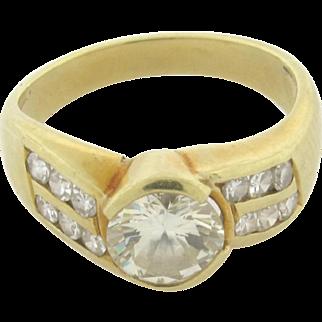 Vintage .80 Carat Round Diamond 18K Yellow Gold Ring