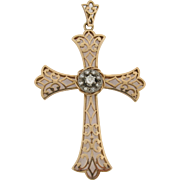 Beautiful Antique 18K Gold & Diamonds Cross Pendant