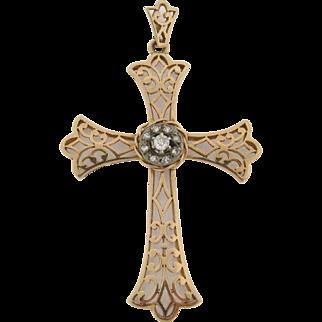 Beautiful Antique 18K Gold & Diamonds Cross Pendant