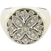 Unique Vintage Designer Diamonds 18K White Gold Ring Marked 750