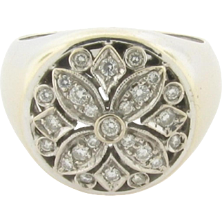 Unique Vintage Designer Diamonds 18K White Gold Ring Marked 750