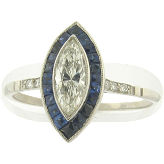 Beautiful Art Deco Design 1/2 Carat Marquise Diamond Sapphires Platinum Ring