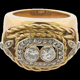 Art Deco 14K Gold Designer Ring with 35 Diamonds
