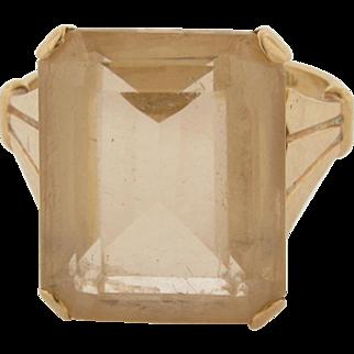 Large Beautiful Art Deco Marked 18K 12 C. Golden Citrine Emerald Cut Ring
