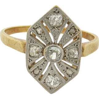 Beautiful Art Deco Platinum 18K Gold 11 Diamonds Ring