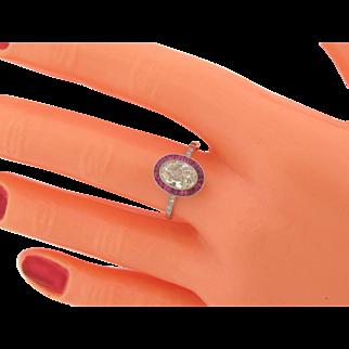 1.08 Carat Art Deco Oval Shaped Diamond Rubies Platinum Ring