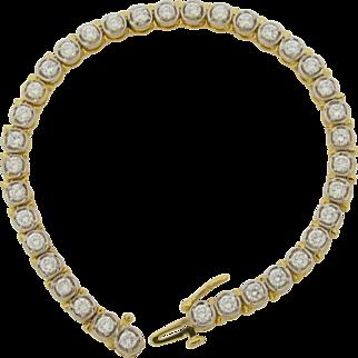 Superb Marked 14K Gold 36 Diamonds Custom Made Bracelet 4.32 Carats