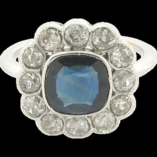 Beautiful Art Deco Design 2 Carat Cushion Cut Sapphire Diamonds Platinum Ring