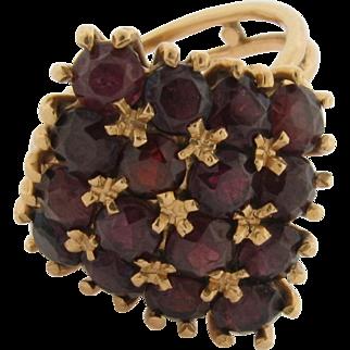 Vintage 18K Gold 16 Superb Color & Cut Garnets Ring