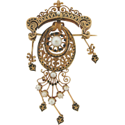 Rare Antique French Art Nouveau 18K Gold Pearls Brooch Signed ET On The Pin Bar
