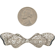 Exquisite Art Deco Diamonds Sapphires Platinum 18K Gold Brooch