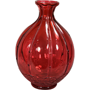Rare Mid Century Ruby Red Limited Edition Baccarat Crystal French Art Glass Vase