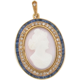 Lovely 18K Gold Sapphires Diamonds High Relief Carved Cameo Pendant