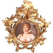 Beautiful Painted Porcelain Plaque Queen Louisa Set in Ornate Gilt Wood Frame