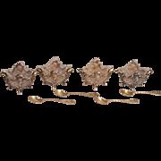 Set of 4 Silver Gilt Antique Salt Cellars with Silver Gilt Salt Spoons.