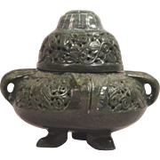 Rare Antique Chinese Beautifully Carved Spinach Jade Pierced Censer