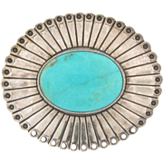 Exquisite Persian Turquoise Brooch or Pendant Set in Sterling Silver