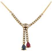 Vintage Diamonds Ruby Sapphire 18K Gold Necklace