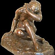 Emile Ferdinand-Dubois 1869-1952 Devant Lamour Bronze Sculpture
