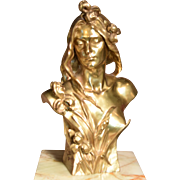 Signed G.Obiols Spanish Art Nouveau Bronze Bust of a Woman Long Flowing Hair