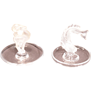 Two Lalique Ring Trays a Ram and a Fish Signed in Script Lalique France.